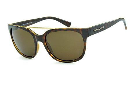 7158443c998 Óculos de Sol Armani Exchange AX4043S Demi tartaruga com dupla ponte estilo  gatsby com logo dourado