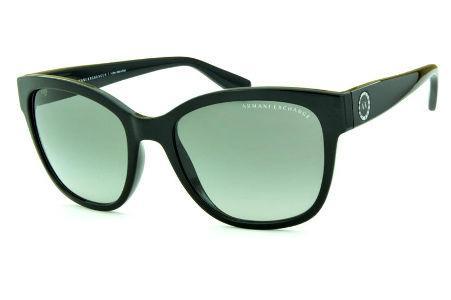 Óculos de Sol Armani Exchange AX4046SL preto com detalhe nas hastes redondo  e lente cinza degradê f70a845fcd