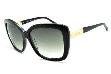 a5b9fe5c71559 Óculos de Sol Bulget modelo gatinho cor preto e detalhe dourado