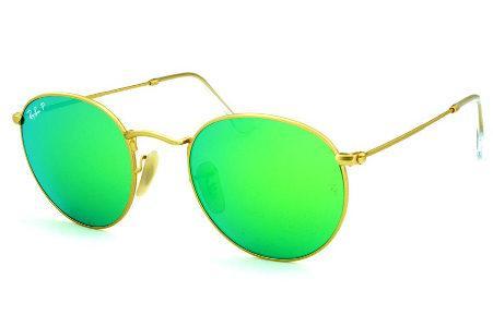 b98572e13338e Óculos Ray-Ban Round RB3447 POLARIZADO metal dourado redondo com lente  espelhada verde