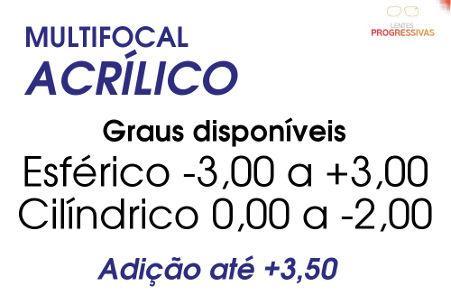 4363b4073c Lente Multifocal Acrílica com Anti Reflexo Grau Esf. -3,00 a +3
