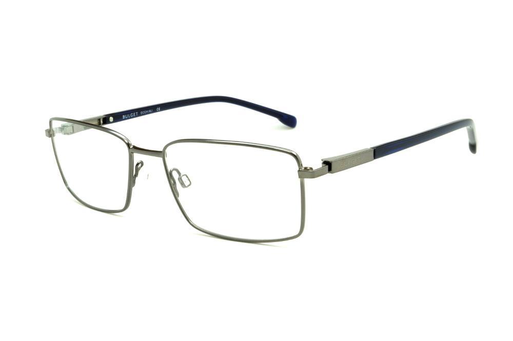 475e644c79271 Óculos Bulget prata com haste azul marinho flexível de mola