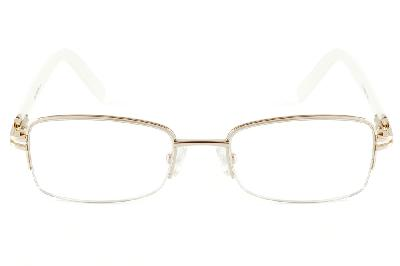 dcf80fa3e32a7 ... Óculos Ilusion dourado em nylon com haste brancas flexível de mola e  strass cristal ...