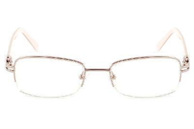 c5ee373b33884 ... Óculos Ilusion rosê em nylon com haste bege flexível de mola e strass  cristal ...