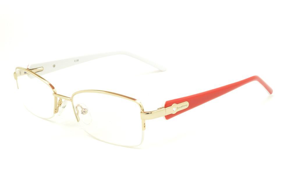 c13c8d4fb0d6d Óculos Ilusion dourado em nylon com haste vermelha branca flexível de mola  e strass cristal