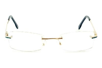 2591e1f03 ... Óculos Ilusion dourado modelo parafusado com haste azul marinho e  dourado ...