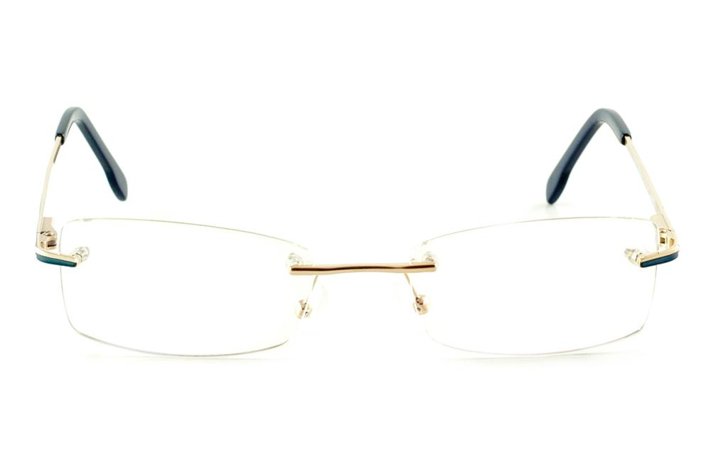 a2fd473040edd Óculos Ilusion J00543 dourado parafusado haste azul e lente grátis