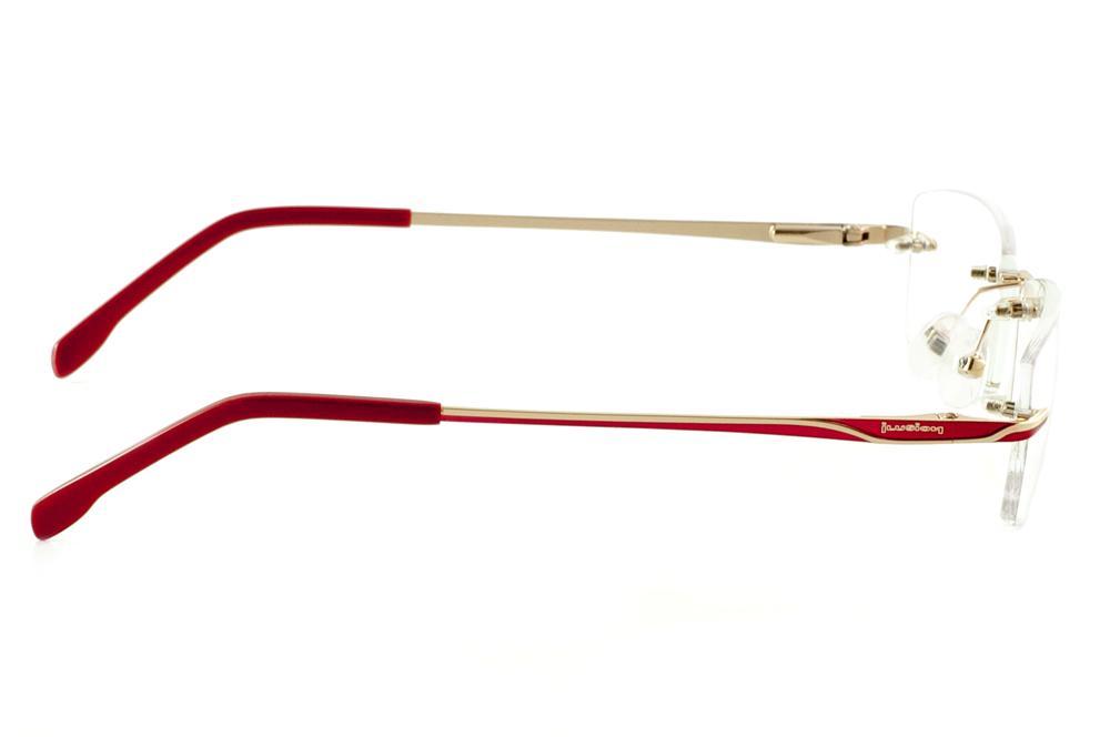 f58e24bb51fa2 Óculos Ilusion J00543 dourado parafusado haste vermelha e lente grátis