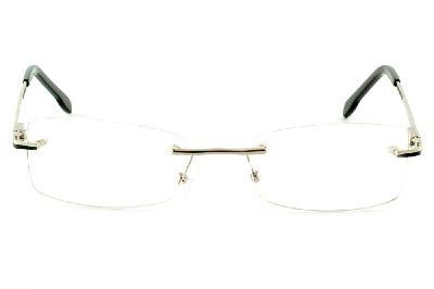 242199960 ... Óculos Ilusion prata modelo parafusado com haste preto e prata + Lentes  grátis ...