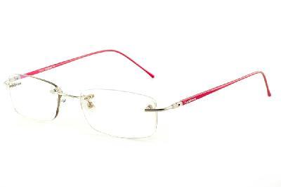 4786920e2 Óculos Ilusion dourada modelo parafusado com haste vermelha flexível de  mola ...