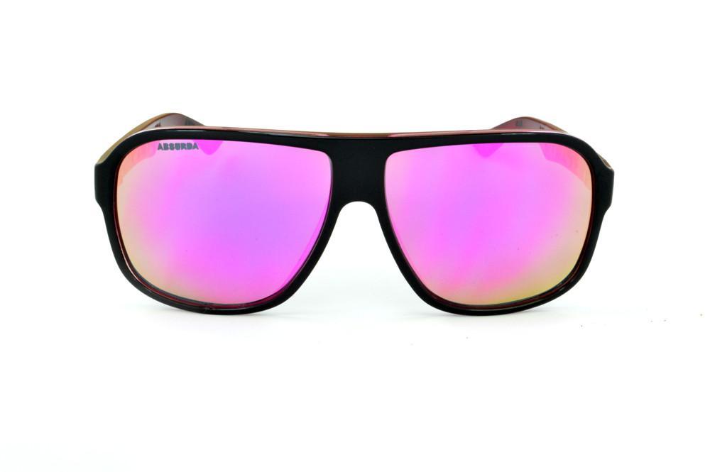 c9869f536 Óculos Absurda Calixto preto e rosa lente amarela/rosa espelhado