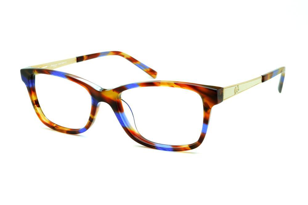 f1f0e47c8d859 Óculos Ana Hickmann AH6217 acetato marrom caramelo e azul royal com haste  branca e dourado