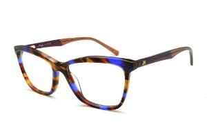 03f3e9031730a Óculos Ana Hickmann HI6013 efeito estampa preto caramelo e azul royal com  haste vinho