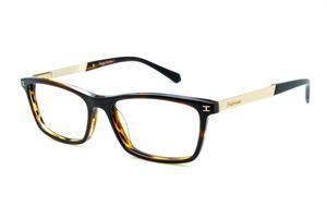 Óculos Ana Hickmann HI6015 acetato marrom mesclado e bege com haste metal  dourada 17e91d38cd