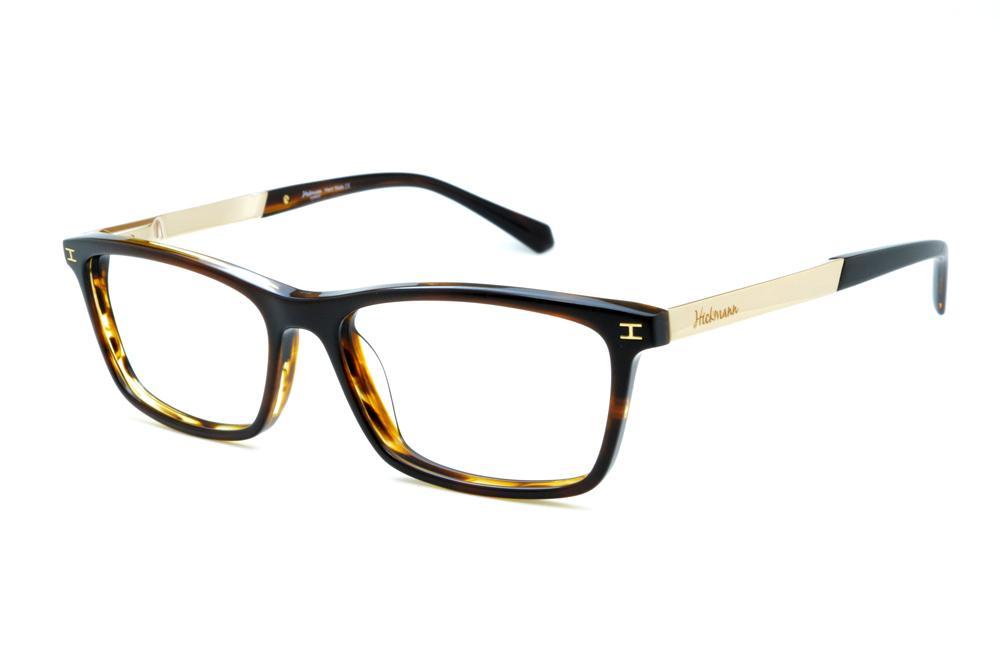 0371a4c22ff61 Óculos Ana Hickmann HI6015 acetato marrom mesclado e bege com haste metal  dourada