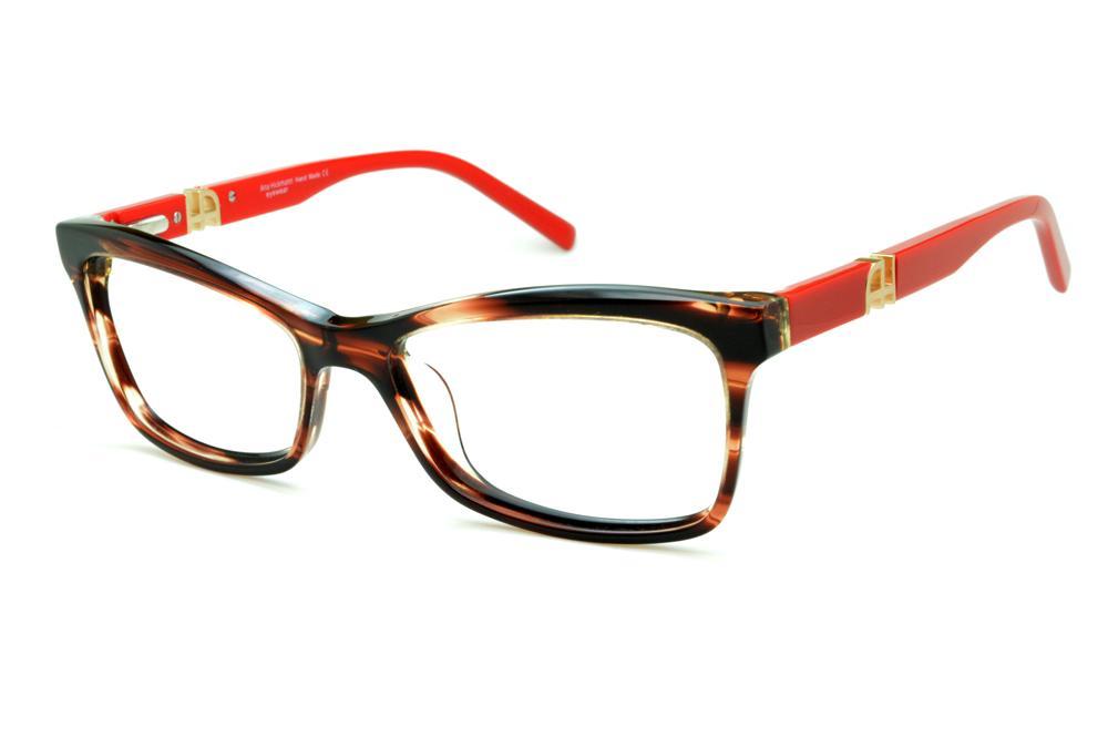 Óculos Ana Hickmann AH6180 acetato marrom caramelo mesclado com haste  vermelha e logotipo dourado 693c69ab27