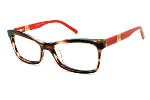 Óculos Ana Hickmann AH6180 acetato marrom caramelo mesclado com haste  vermelha e logotipo dourado f515f88b04