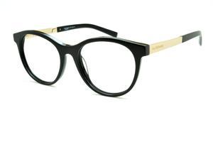 57e11384bfe1b Óculos Ana Hickmann AH6233 redondo em acetato preto com haste dourada