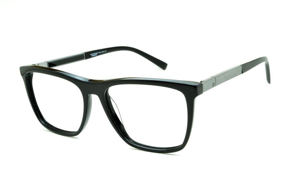 085427b6a Óculos Ana Hickmann AH6232 acetato preto com haste grafite giratória