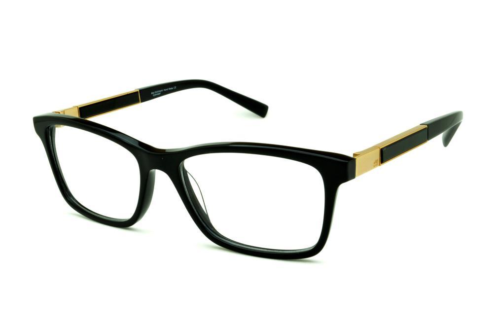 Óculos Ana Hickmann AH6234 acetato preto quadrado com haste dourada 8b559e9073