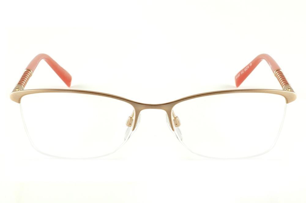 7fd91e04f73f8 Óculos Ana Hickmann AH1267 dourado haste salmão laranja fio de nylon