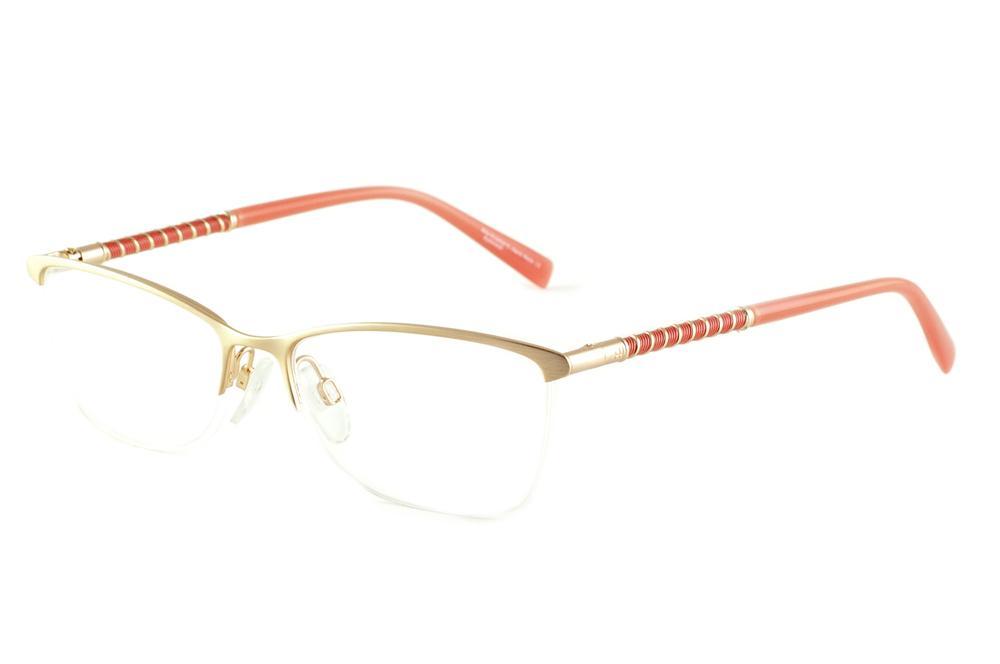 40400e8269020 Óculos Ana Hickmann AH1267 dourado haste salmão laranja fio de nylon