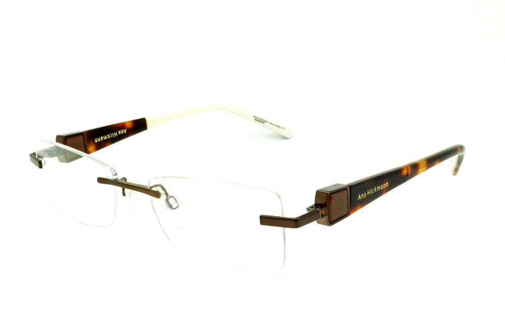 ff0e786dc Óculos Ana Hickmann AH1243 marrom café modelo parafusado com haste giratória  marfim/demi em onça