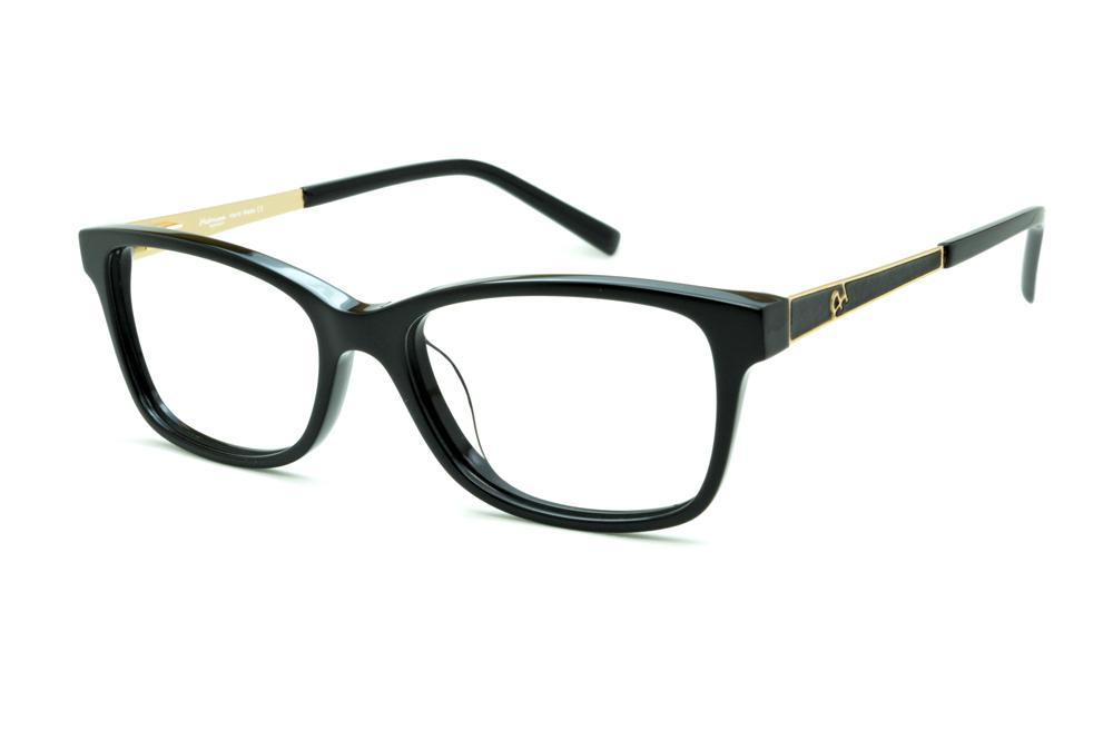 Óculos Ana Hickmann AH6217 preto com haste dourada flexível de mola 2c6a1ae0aa