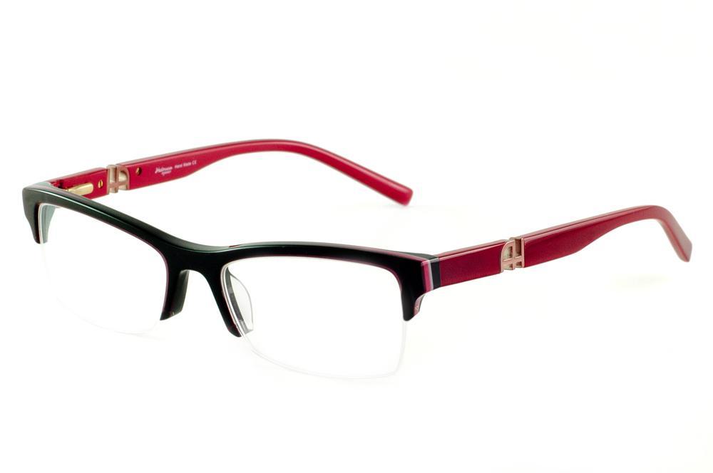 Óculos Ana Hickmann fio de nylon AH6209 preto com haste vermelha vinho d52d9284f6