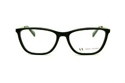 ... Óculos Armani Exchange AX3028 preto brilho com hastes metal prata com logo  preto ... 57cd5a272b