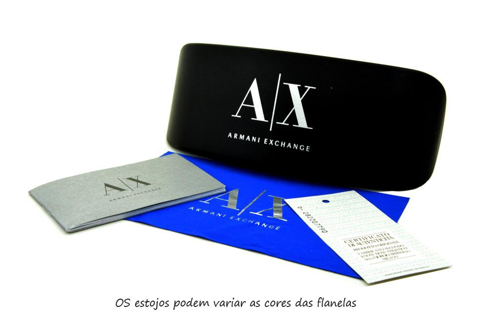 Óculos Armani Exchange AX3028 preto hastes metal prata 1aef53e8c7