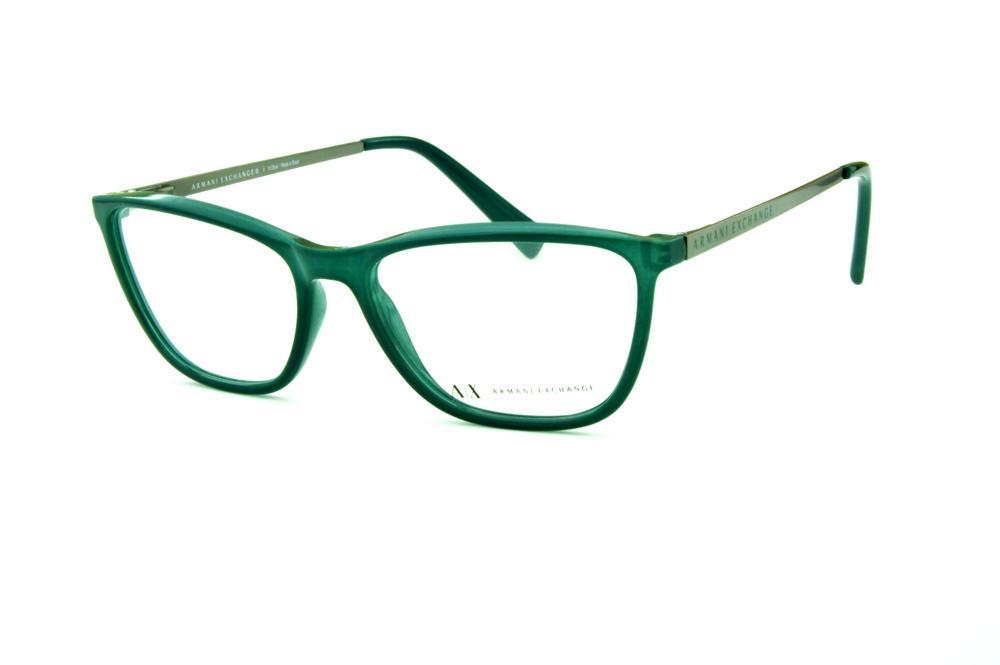 bd954cc1b Óculos Armani Exchange AX3028 verde haste cinza e logo verde
