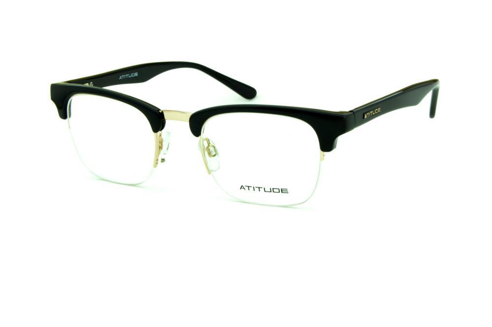 448a984fc96f9 Óculos Atitude AT1553 modelo clubmaster preto fio de nylon