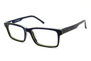 b5c7a27bb7764 Óculos Atitude azul com friso preto e amarelo e haste flexível de mola