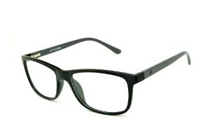105f38dcb8892 Óculos Atitude em acetato preto com haste cinza escuro flexível de mola