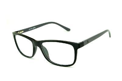 26ce54ee1b0a9 Óculos Atitude em acetato preto com haste cinza escuro flexível de mola ...