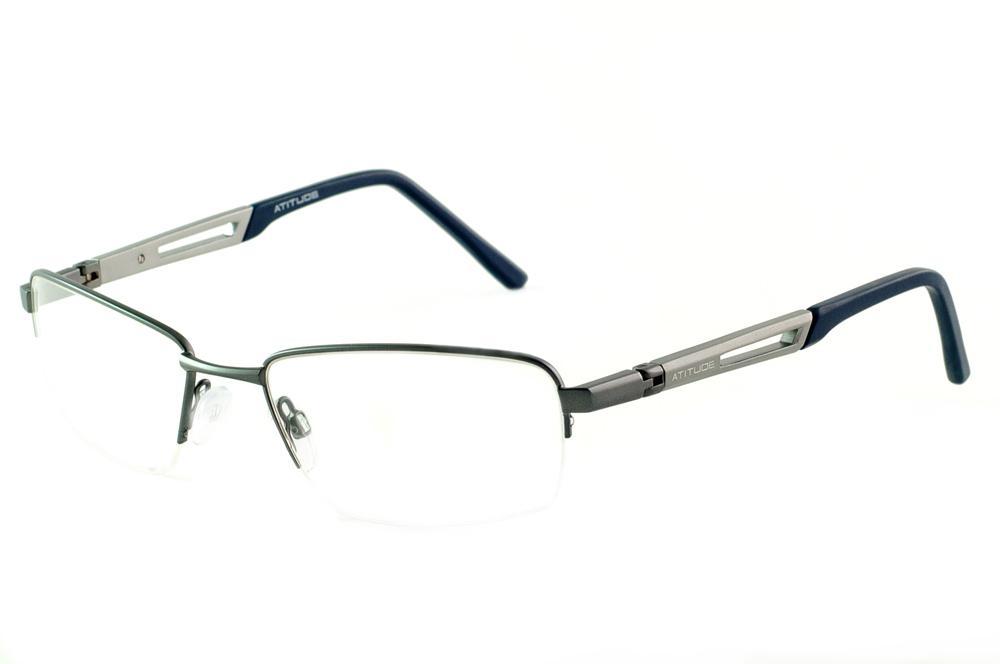 Óculos Atitude grafite com haste azul flexível 180 graus de mola 72babc4fa4