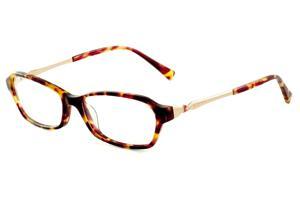 Óculos Atitude em acetato cor demi tartaruga efeito onça com haste flexível  dourada e strass vermelho 0e77a5c0c6