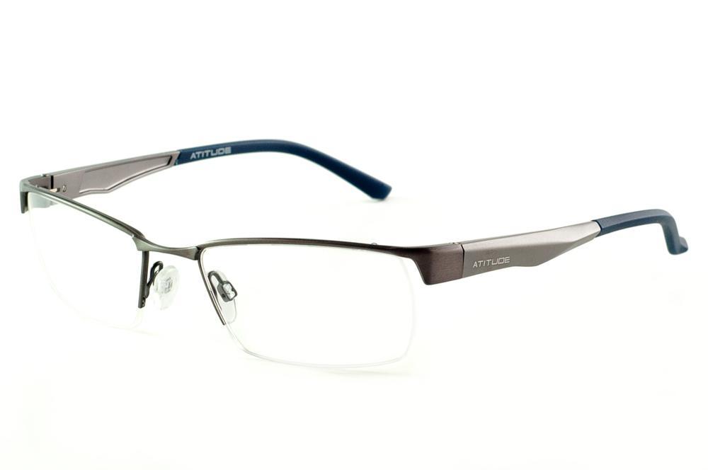 3e6748b08ee9b Óculos Atitude metal silver com haste prata fosco azul marinho flexível de  mola