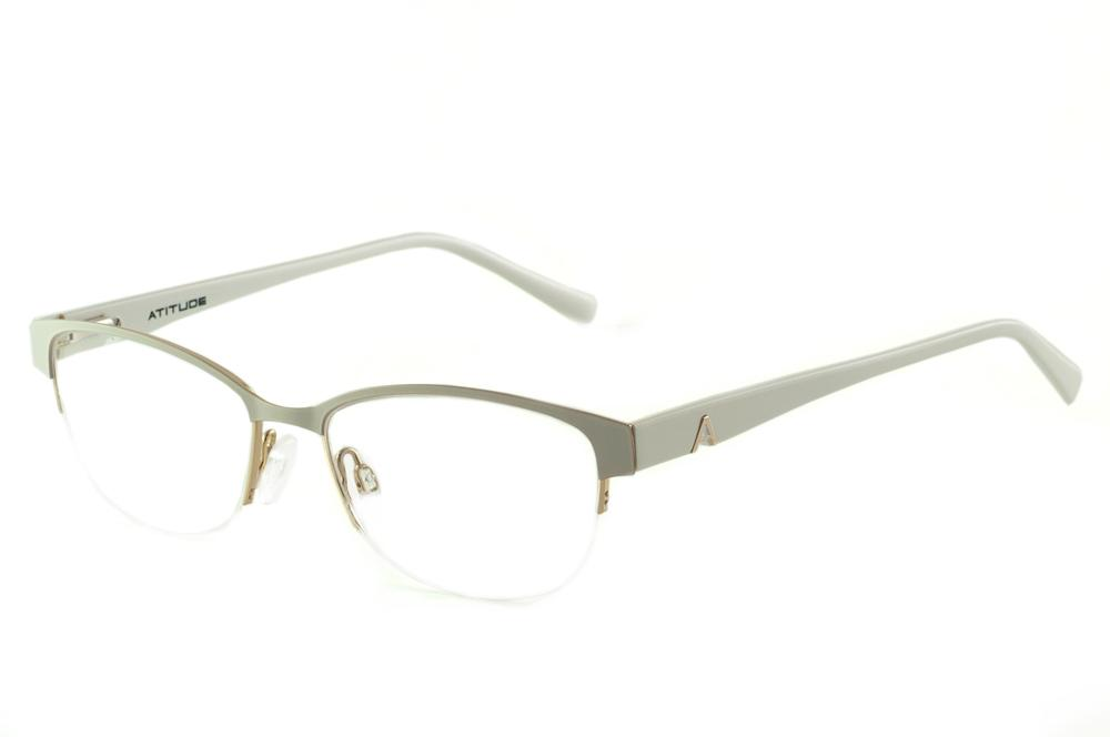 756acc20ef024 Óculos Atitude AT1547 estilo gatinho cinza e branco com detalhe dourado e  haste flexível de mola