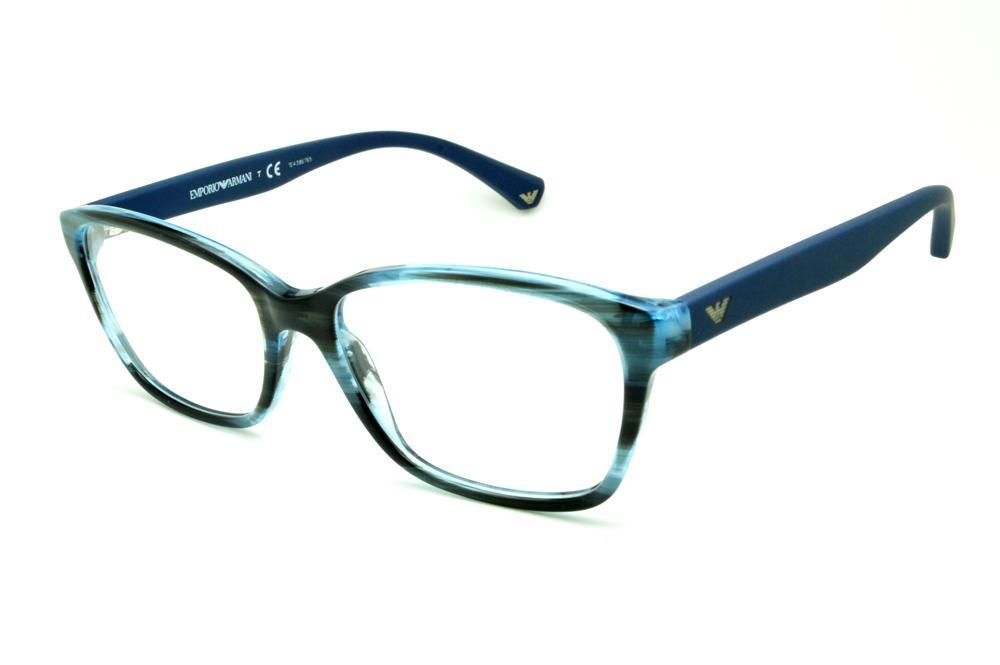 b7eaf40ca Óculos Emporio Armani EA3060 azul e preto camuflado em acetato com haste  efeito borracha