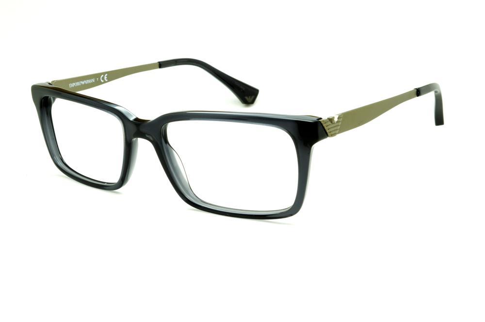 3b285cace99d0 Óculos Emporio Armani EA3030 em acetato cinza com haste em metal dourado  opaco