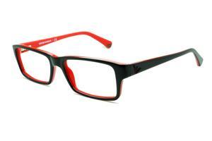 69f41c6f7 Óculos Emporio Armani EA3003 preto e vermelho em acetato com haste flexível  de mola