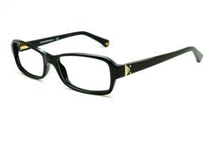 6bcc058b01ec9 Óculos Emporio Armani EA3016 preto em acetato com haste preta e detalhe  dourado flexível de mola