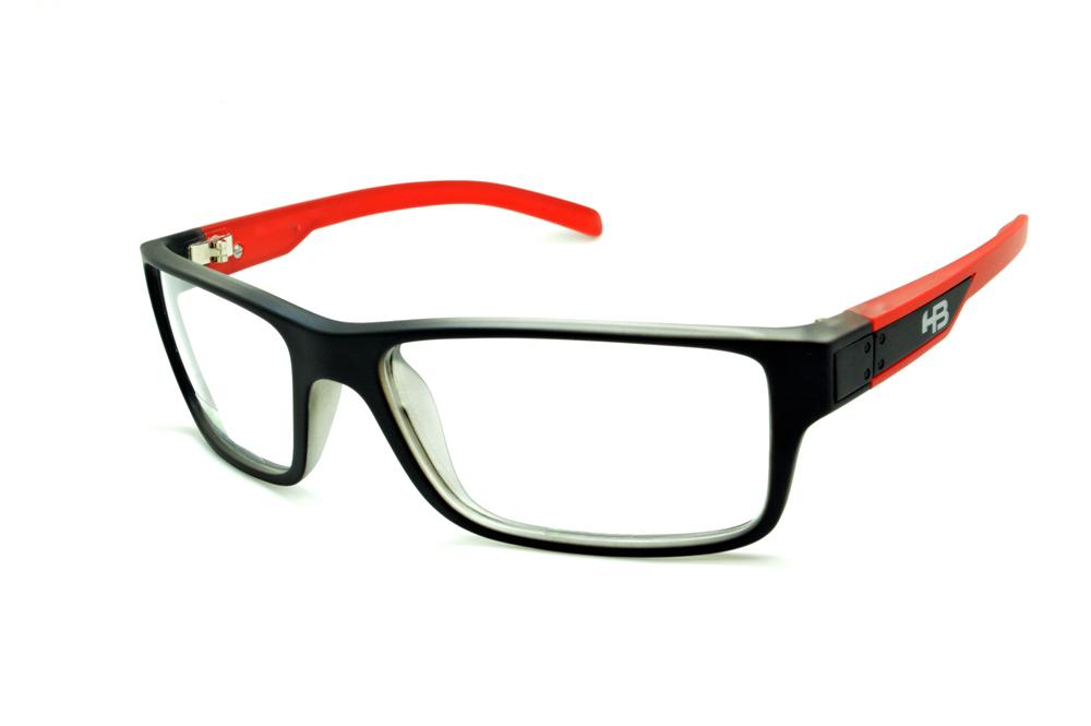 d134532658cd2 Óculos HB Black Matte Red - Acetato preto fosco e haste vermelha