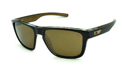 ff9fb3f3d673e Óculos HB H-BOMB Black Gold preto e marrom emblema dourado e lente marrom  ...