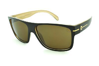 263ada489 Óculos HB Would Café/Bege com detalhe dourado e lente marrom ...
