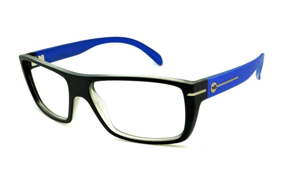 Óculos HB Black Matte Blue - Acetato preto fosco com haste azul e detalhe  metal d837720c4c