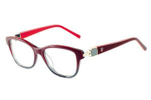 Óculos Ilusion acetato degradê vinho e cinza com haste vinho vermelho e  strass cristal 8db73ba320