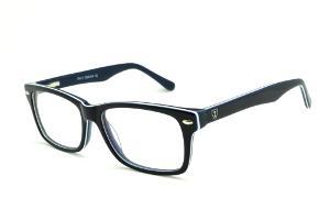 8ec30ec0d Óculos Ilusion acetato preto e detalhe em branco com haste flexível de mola